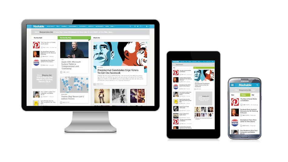 Exemple de Responsive Design avec le site Mashable